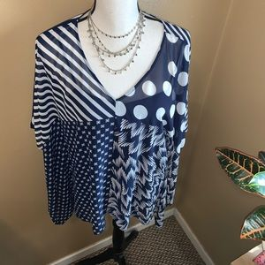 Vince Camuto M Sapphire Sheen Ink Blue NWT Blouse